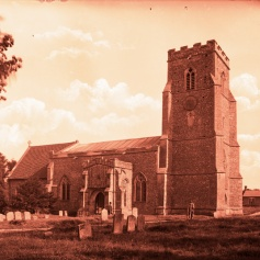Felsham Church with National School pre 1900 (1)